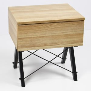 BEDSIDE TABLE SINGLE_black_raw oak